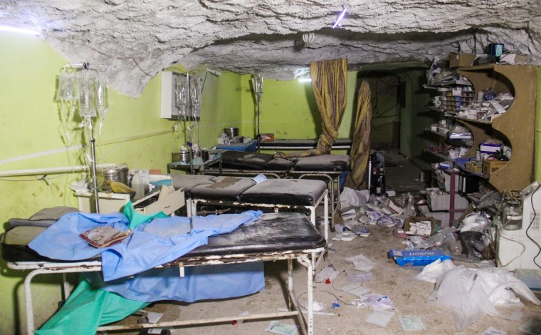 Image: A destroyed hospital room in Khan Sheikhun, a rebel-held town in the northwestern Syrian Idlib province, following a suspected toxic gas attack