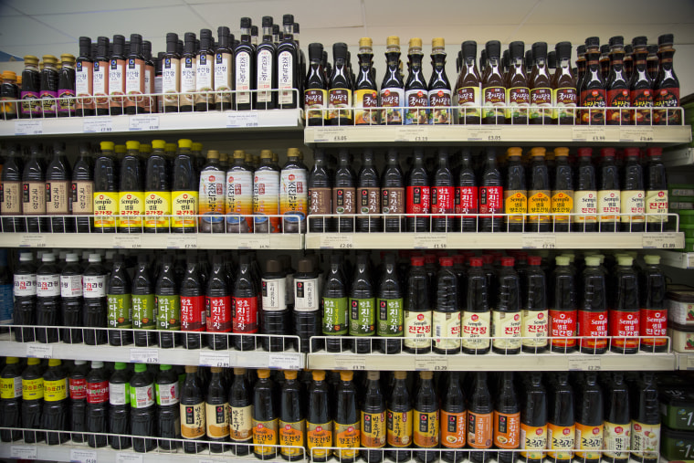Image: An array of sauces in the Korean Foods superstore in New Malden