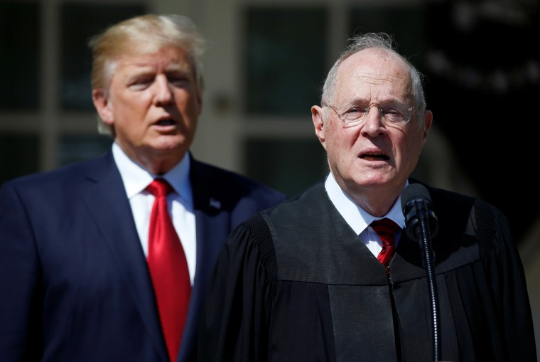 Image: Trump listens as Justice Kennedy speaks before swearing in Judge Neil Gorsuch