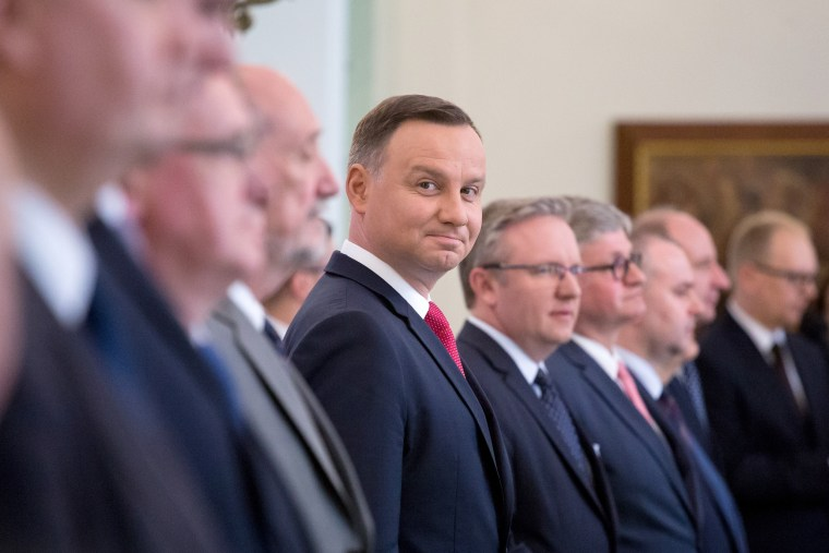 Image: President of Poland Andrzej Duda at Presidential Palace in Warsaw, Poland on June 12, 2017.