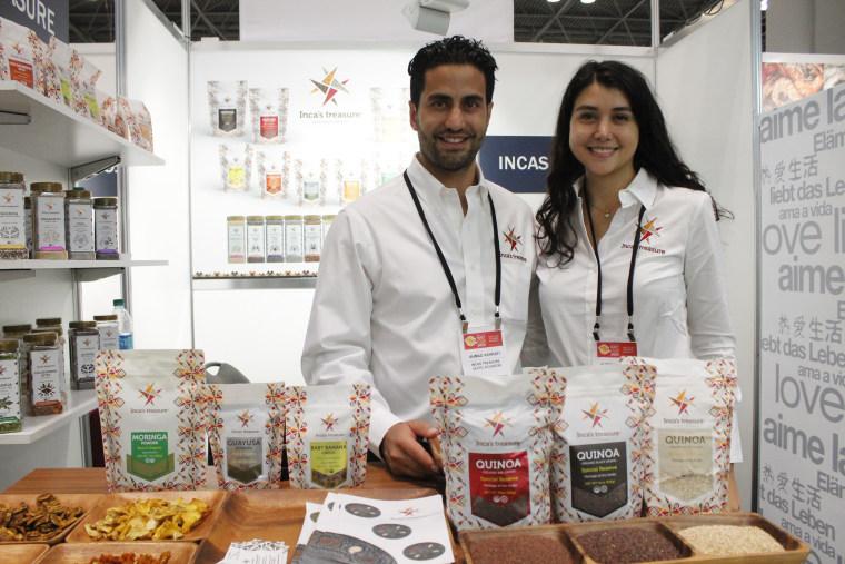 Ahmad Sebastian Ashrafi and his sister Ahdieh Ashrafi stand with their Inca's Treasure product.