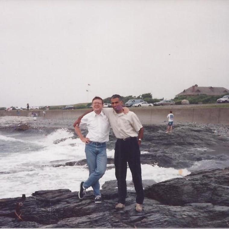 Manil Suri with his partner, Larry, in Rhode Island.