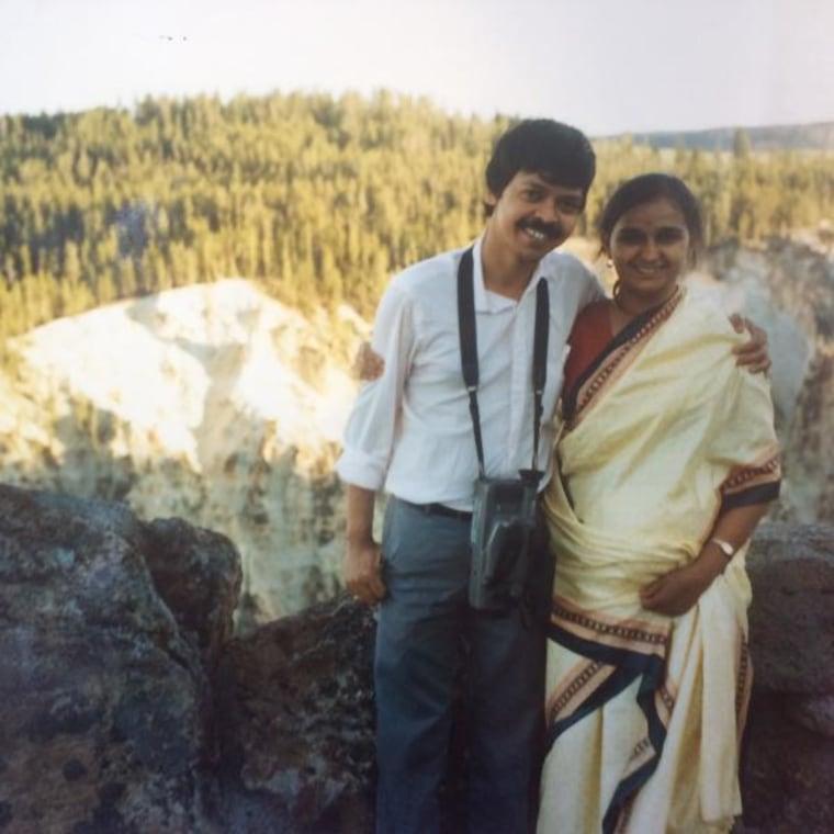 Kaumudi Pandya, with her husband, at Yellowstone in 1991.
