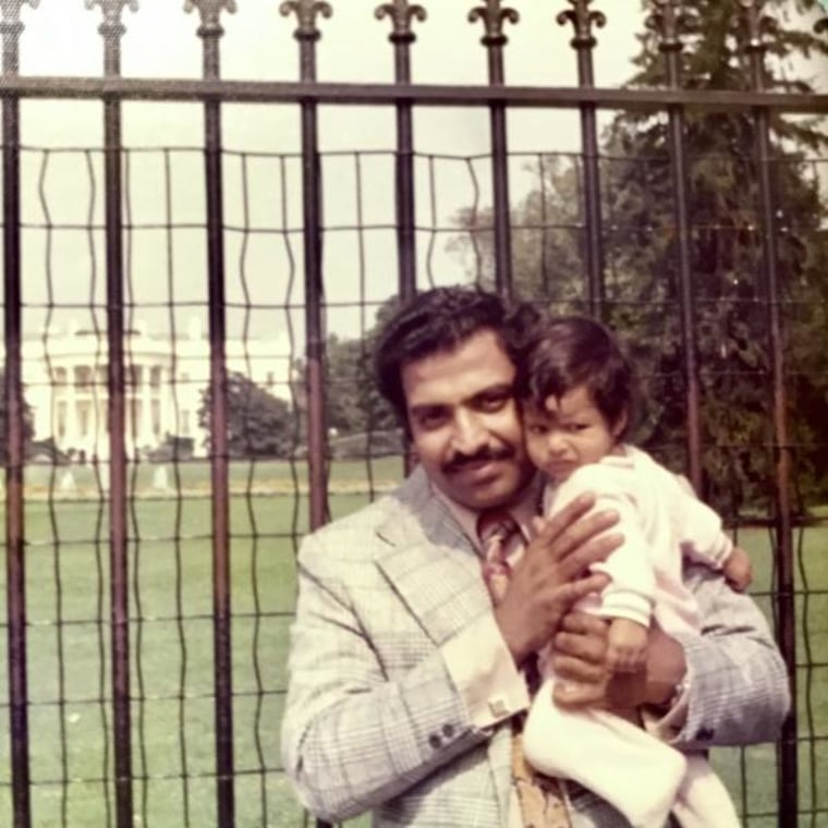 Sharmila Rao Thakkar, with her father, in front of the White House in 1973.