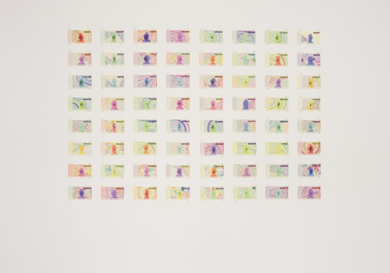 Block Bills is a series of 64 banknotes generated from the Bitcoin Blockchain