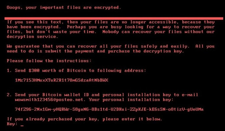 A screenshot of the new ransomware attack.