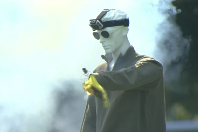 Image: The Consumer Products Safety Commission uses mannequins to demonstrate what not to do with fireworks on July 4