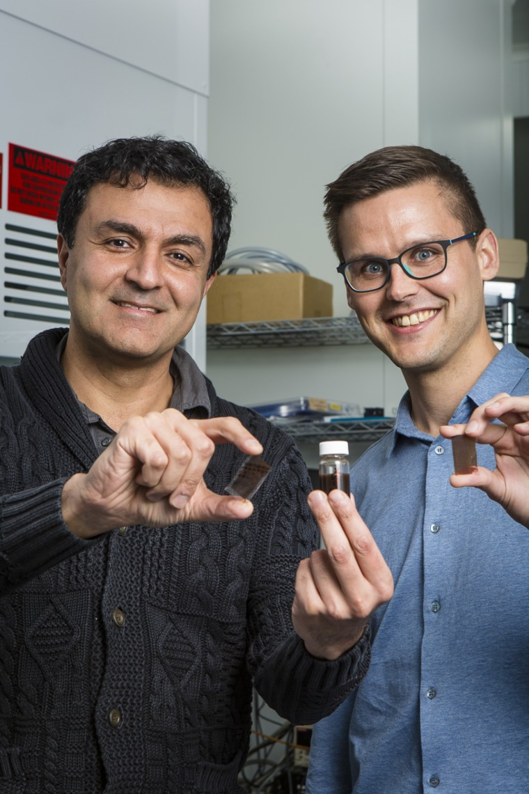 Professor Kourosh Kalantar-zadeh and Dr. Torben Daeneke with the solar paint