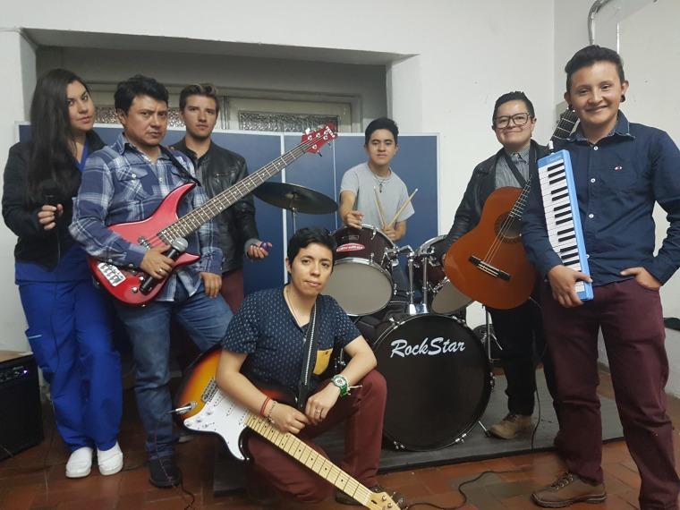 (L-R) Members of the band 250 Milligrams: Viviana Vega, Jhonnatan Espinosa, Gustaff Garzon, Thomas Jimenez, Martin Orozco, Ale Quiroga and Andres Castillo
