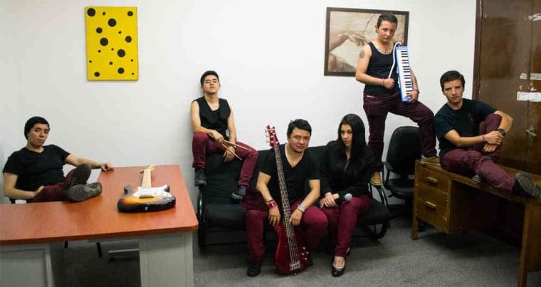 Members of the band 250 Milligrams: (L-R) Ale Quiroga, Thomas Jimenez, Jhonnatan Espinosa, Viviana Vega, Andres Castillo, Gustaff Garzon