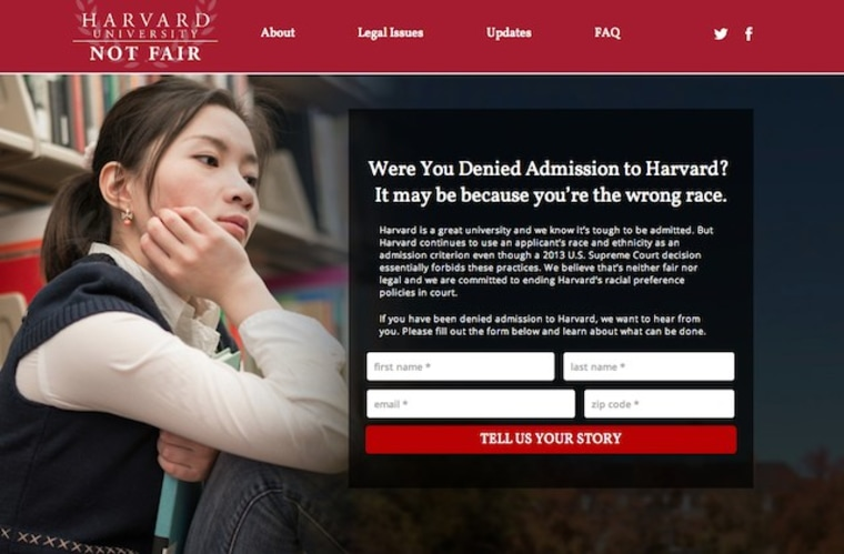 The harvardnotfair.org website asks students denied admission to Harvard to submit their stories.