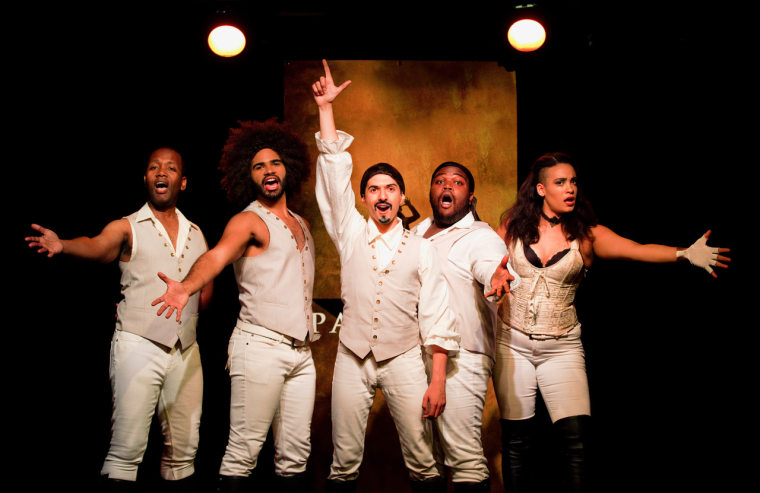 Dan Rosales and the original cast of Spamilton in New York.