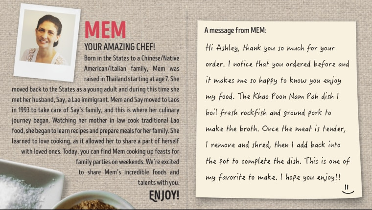 A mock-up of one of the cards that Foodhini delivers to customers with their meals.