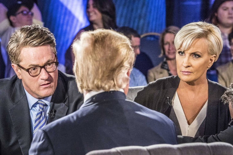 "Image: Joe Scarborough and Mika Brzezinski of MSNBC's ""Morning Joe"" moderate a town hall with Republican presidential candidate Donald J. Trump"