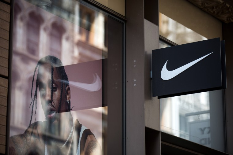Image: The Nike 'swoosh' logo is displayed outside of the Nike SoHo store, June 15, 2017 in New York City. Nike announced plans on Thursday to cut about 2 percent of its global workforce.
