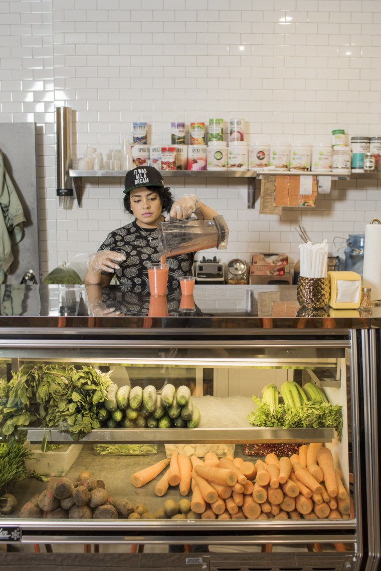 Image: DJ Angela Yee recently opened a juice bar called Juices for Life in Bed-Stuy. The franchise aims to spread healthy eating to communities with a lack of access to fresh foods.