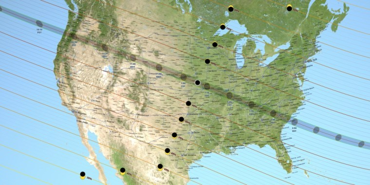A projection of the solar eclipse's path on August 21, 2017