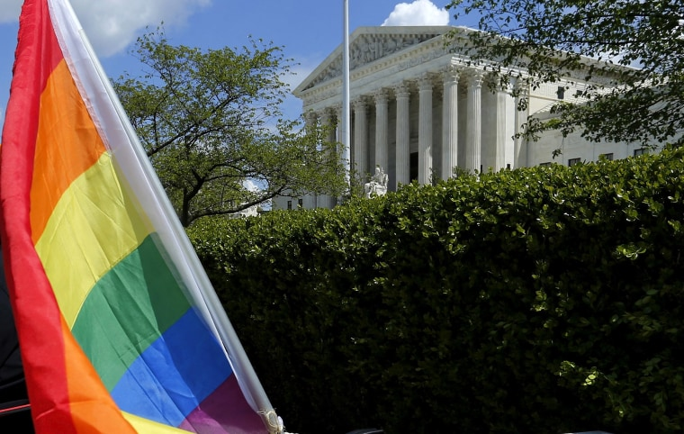 Image: FILE PHOTO: A rainbow colored flag is seen outside the U.S. Supreme Court in Washington