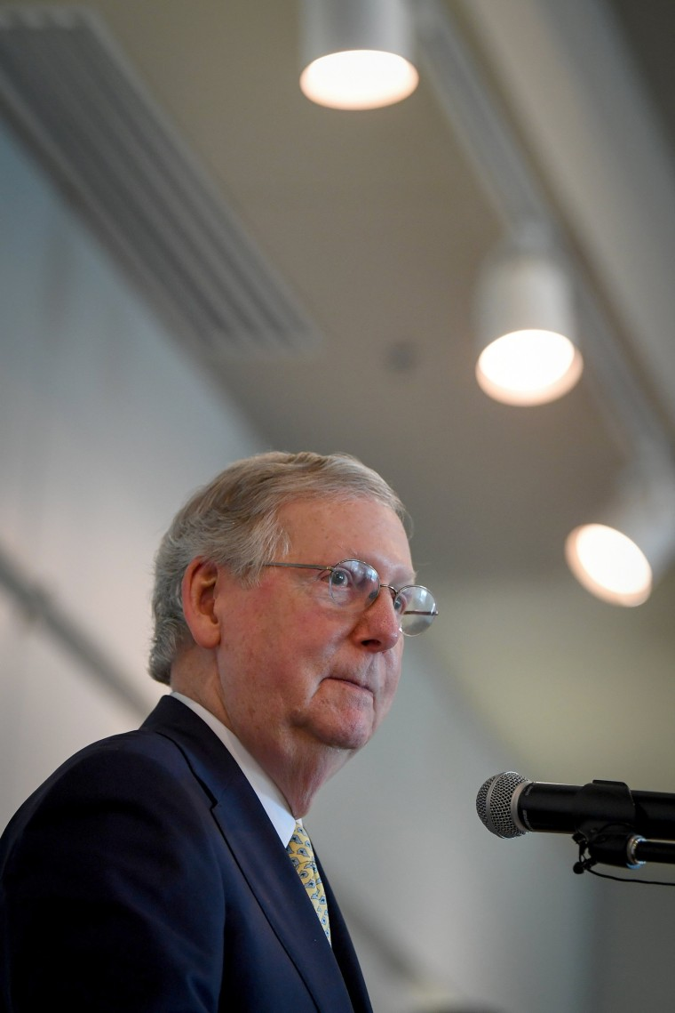 Image: Senate Majority Leader Mitch McConnell speaks at a Harden County Republican party fundraiser in Elizabethtown, Kentucky, June 30, 2017.