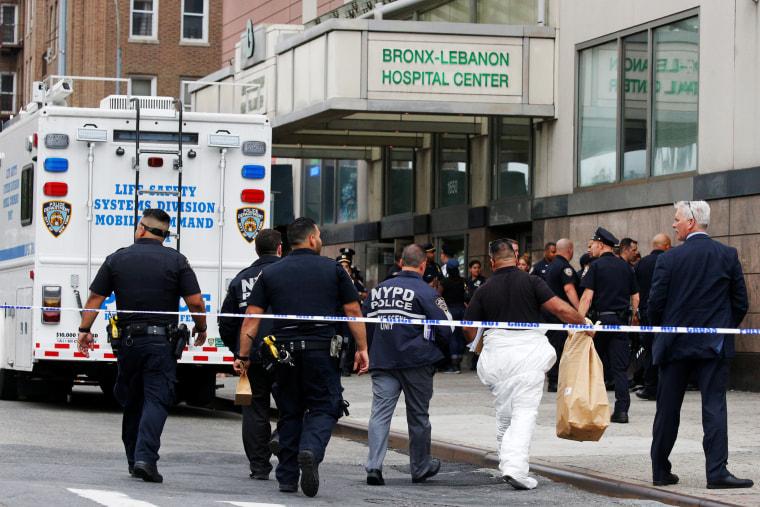 Image: NYPD Crime Scene investigators arrive at Bronx-Lebanon Hospital