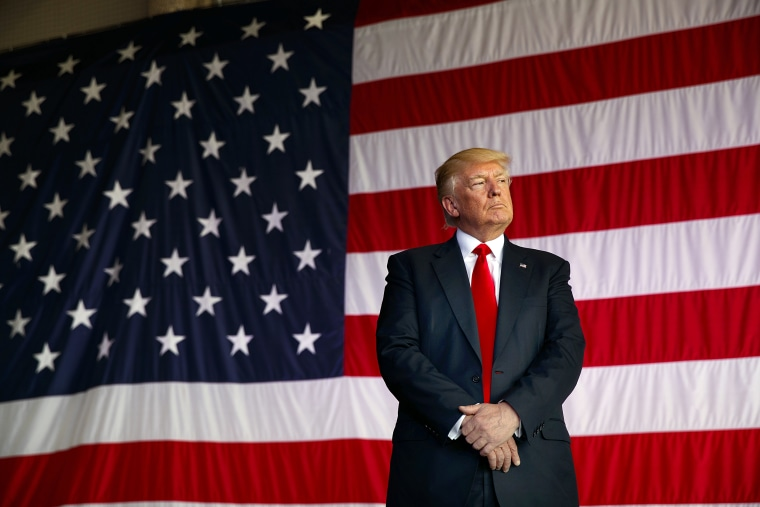 Image: Donald Trump in front of the American flag
