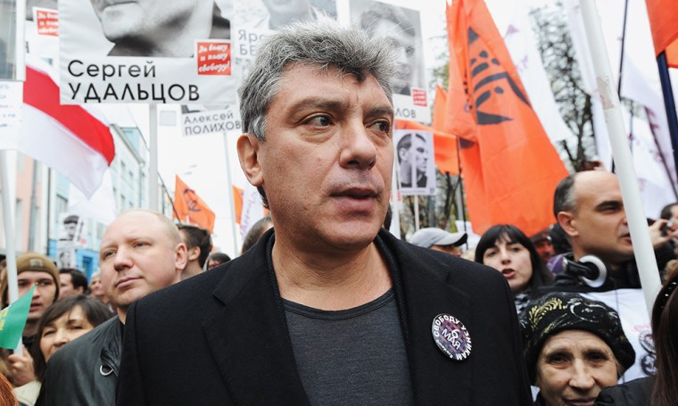 Image: Russian opposition leader Boris Nemtsov attends an opposition rally