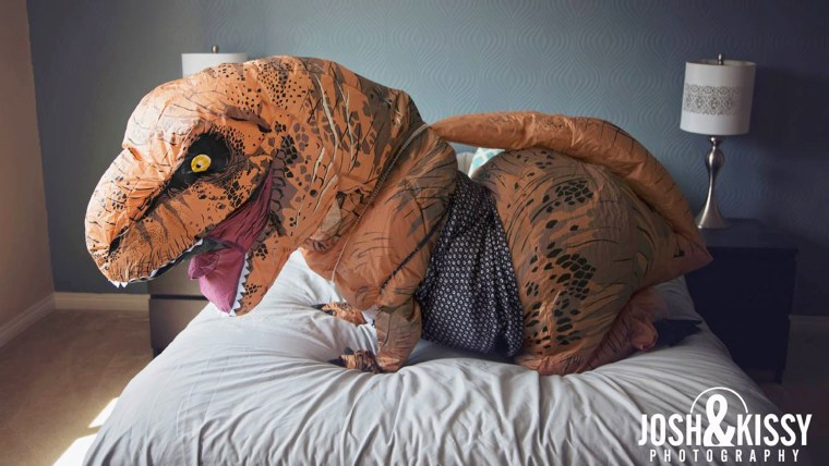 Bride to be does boudoir photo shoot dressed as a dinosaur