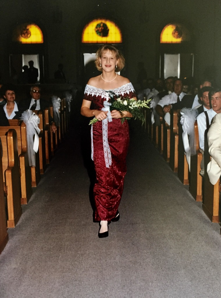 Heidi Mann wearing the Jessica McClintock pattern design down the aisle in 1995.