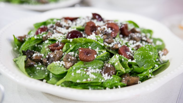 Spinach Salad with Bourbon Glazed Mushrooms
