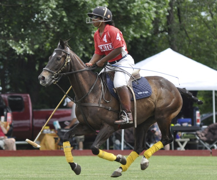 19-year-old Shariah Harris plays polo at the Polo Club in Lancaster, Pennsylvania.