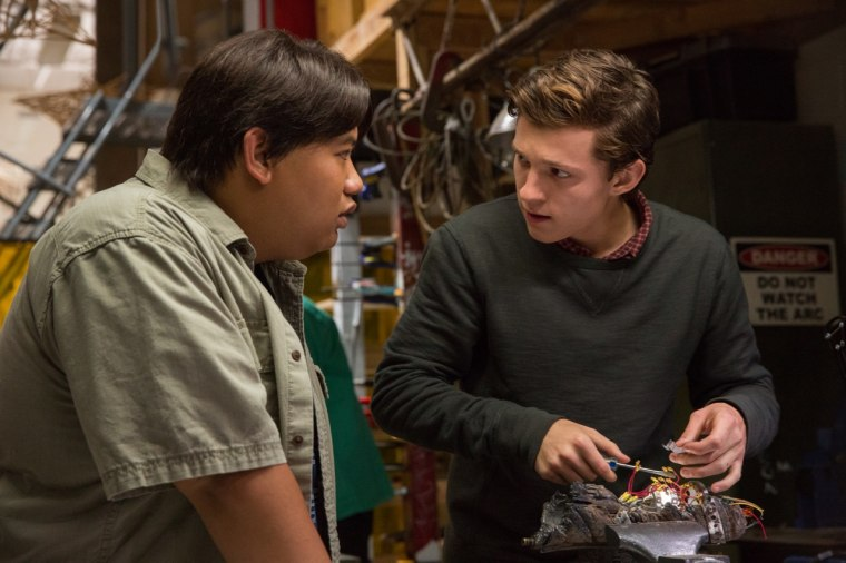 "Jacob Batalon (left) and Tom Holland in Columbia Pictures' ""Spider-Man: Homecoming."""