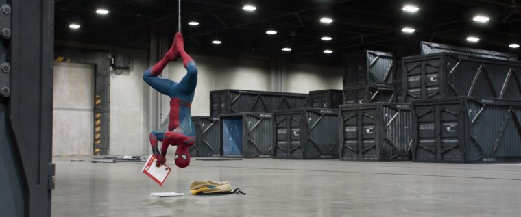 "Spider-Man hangs around in Columbia Pictures' Spider-Man: ""Homecoming."""