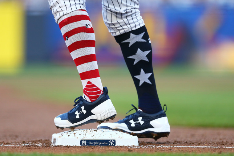 Image: Aaron Judge of the New York Yankees socks