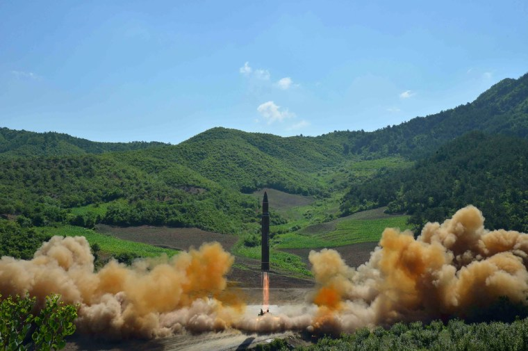 Image: the test-fire of the intercontinental ballistic missile Hwasong-14 at an undisclosed location