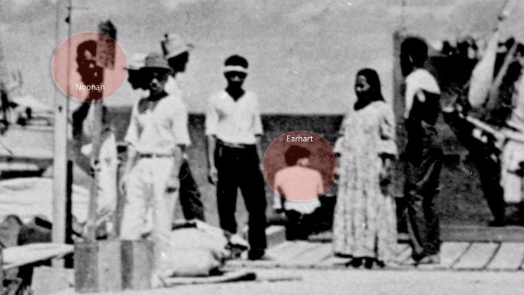 A newly discovered photo shows a woman who resembles Amelia Earhart and a man who appears to be her navigator, Fred Noonan.