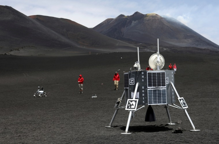 Image: Scientists from German Aerospace Center test robots on Italy's Mount Etna on July 2.