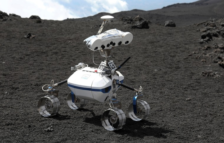 Image: A robot is seen on the the Mount Etna