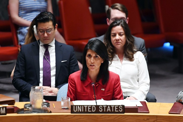 Image: US Ambassador to the United Nations Nikki Haley speaks during a Security Council meeting