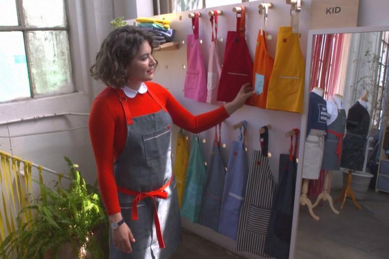 Ellen Bennett in her luxury apron factort, Hedley & Bennett.