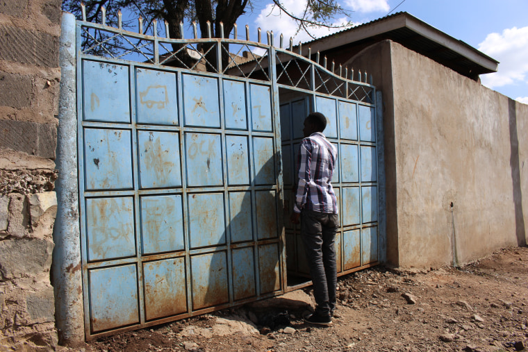 Yusuf entering the gated community in Rongai, Kenya, where she and a friend have rented a one-bedroom house.