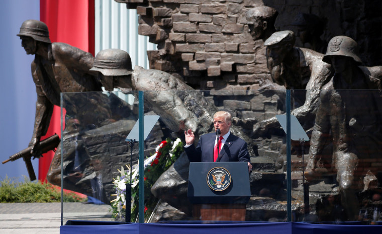 Image: Trump gives a public speech at Krasinski Square in Warsaw