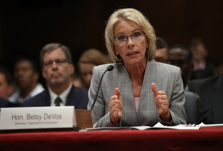 Image: DeVos testifies before the Senate Appropriations Committee on Capitol Hill