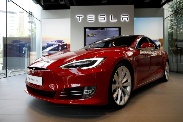 Image A Tesla Model S Electric Car Is Seen At Its Dealership In Seoul