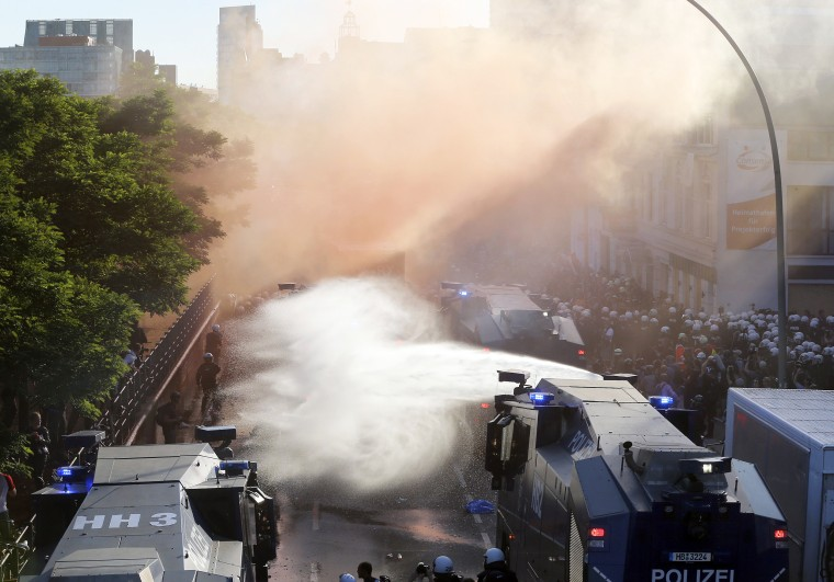Image: Police uses water canons during a protest