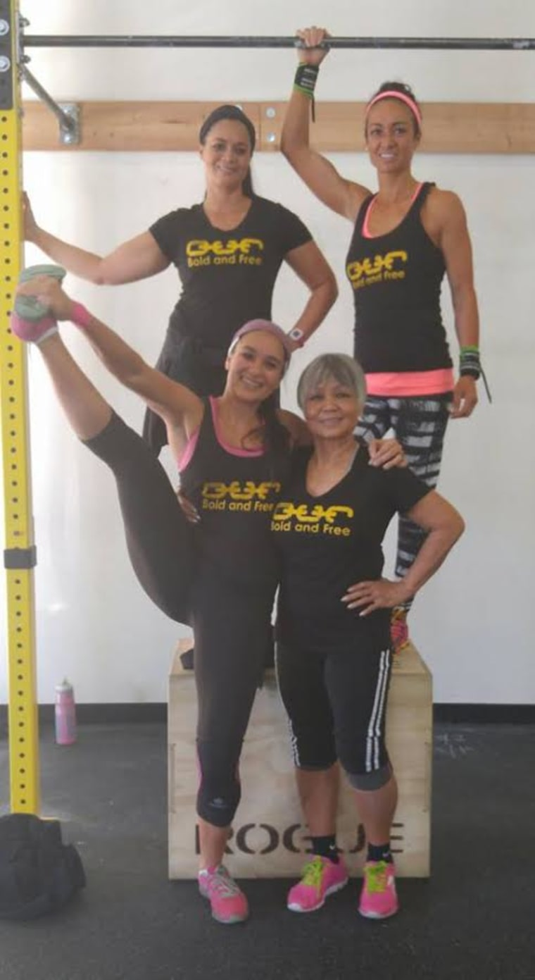 Susie Rose with her daughters at the gym. Among Rose's seven children, six of them do CrossFit.