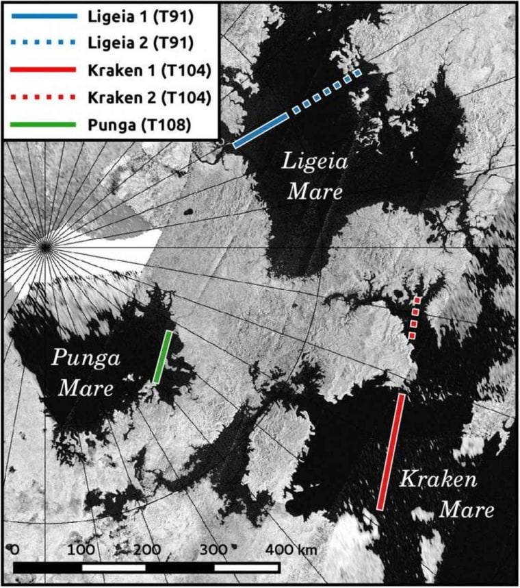 Titan's three largest lakes and their surrounding areas as seen by the Cassini RADAR instrument.