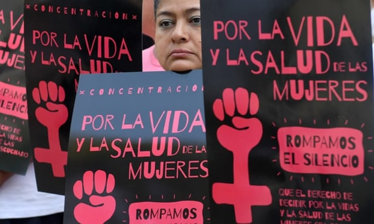 File photo of Salvadoran women taking part in a demonstration to demand the decriminalization of abortion in San Salvador on 23 February 2017.
