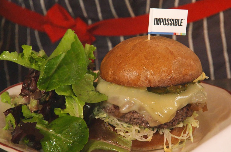 Image: The Impossible Burger is a plant-based burger that looks and bleeds like the real thing.