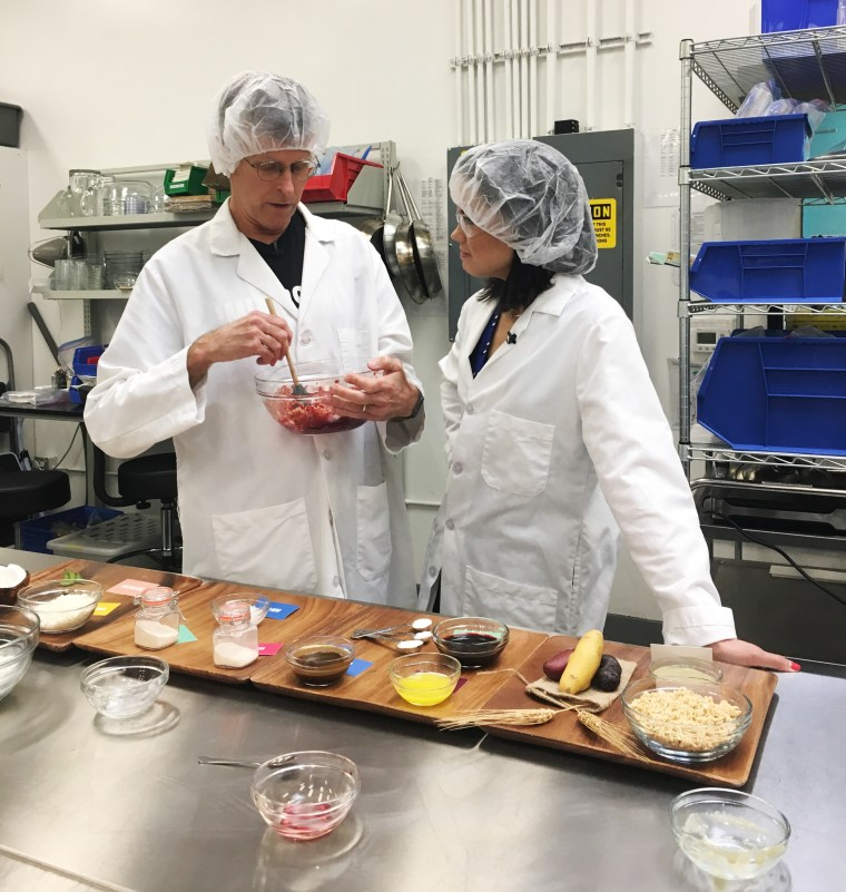 Image: Impossible Foods CEO Patrick Brown mixes all the ingredients that make up the company's plant-based burger