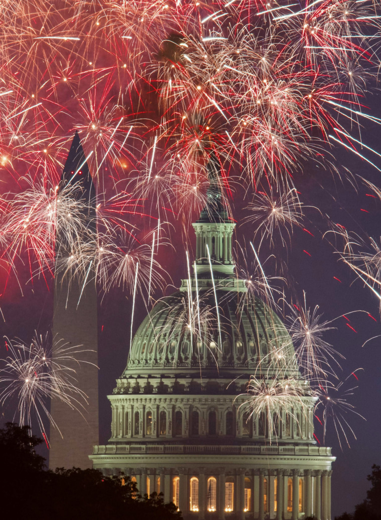 Image: Fireworks explode over the National Mall in Washington